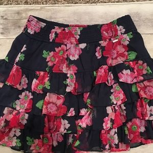American Eagle Floral Ruffle Skirt (Pink & Navy) S